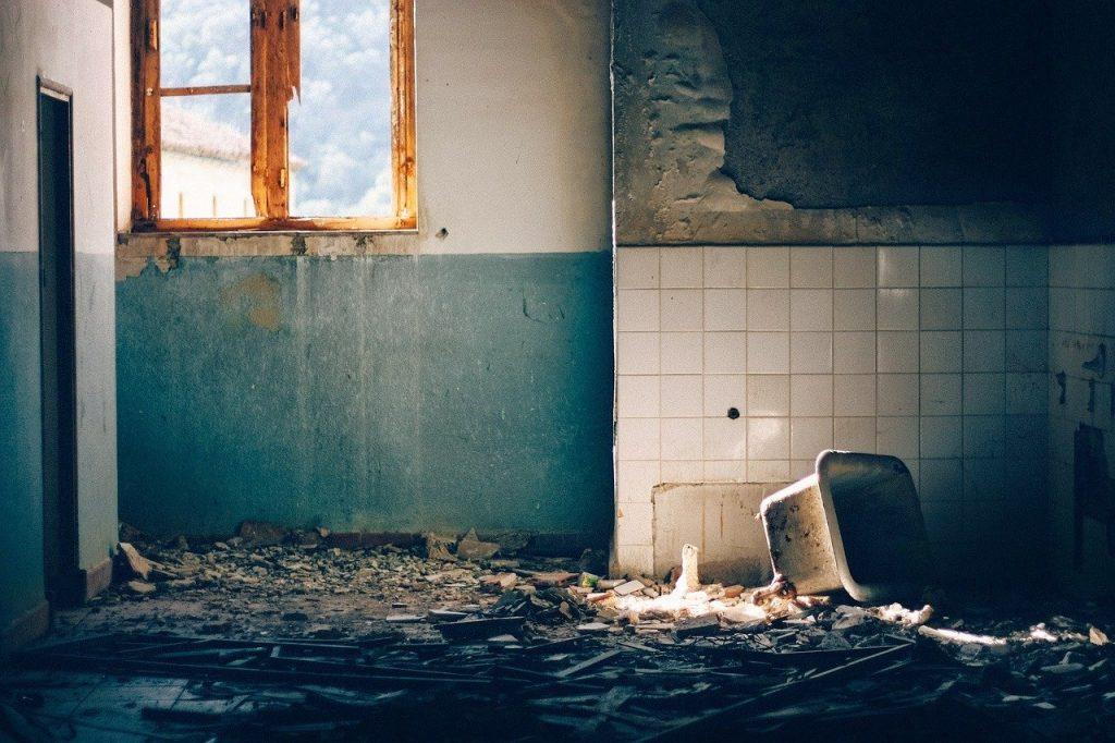 building, destroyed, destruction